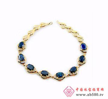 椭圆形蓝宝石18K金手链