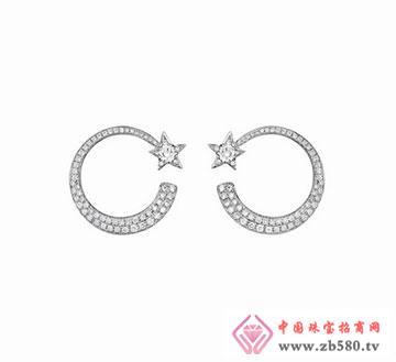 星捧月18K金钻石耳环