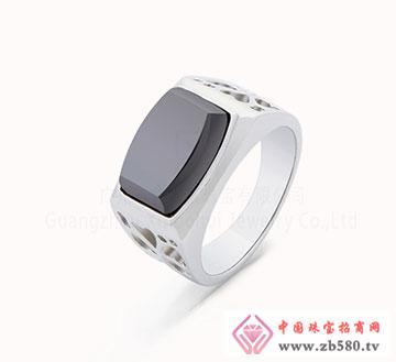 银饰品加工时尚方形黑锆石戒指