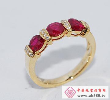 卡珠宝-个性定制-18K钻石红宝排戒