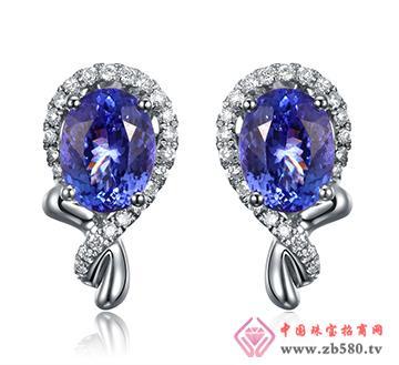 巴意珠宝--AU750坦桑石耳钉