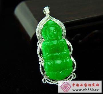 大昌珠宝--冰种满绿翡翠观音吊坠
