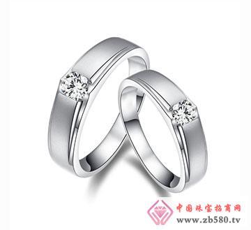 爱甜蜜-18K白金钻石情侣结婚对戒