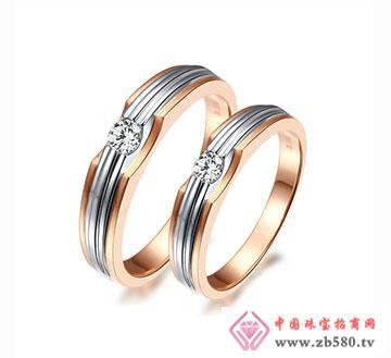 爱相随-18K白金钻石情侣结婚对戒