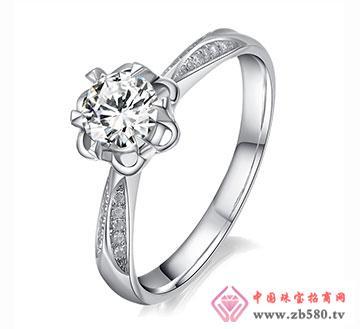 漫天华彩-56分18K白金钻石女结婚戒
