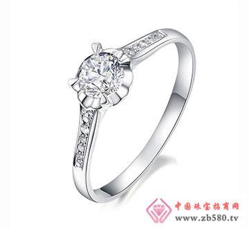 皿血灵-36分18k白金钻石女结婚戒指