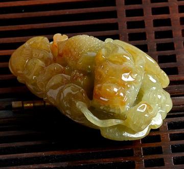 玉貔貅吊坠-玉器黄翡金蟾如意挂件