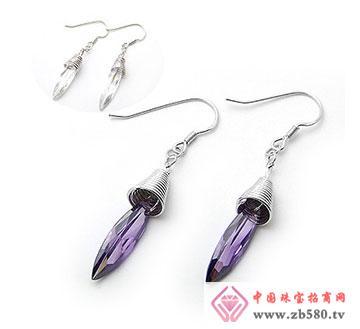 棱面水滴锆石高贵紫耳坠