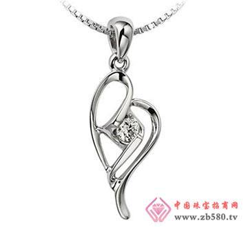 红飞翠舞—18K白金-5分钻石吊坠