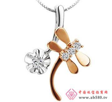 花飞蜓舞—18K玫瑰金-12分钻石吊坠