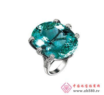 白18k金海蓝宝石戒指