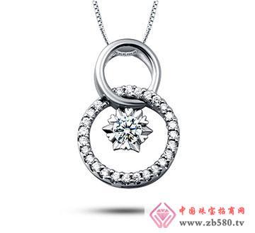 18K金钻石吊坠—心之鹊桥