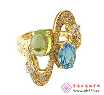 黄金彩宝钻石女戒