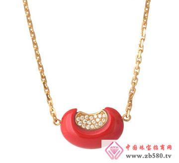 玫瑰金锆石红豆套链