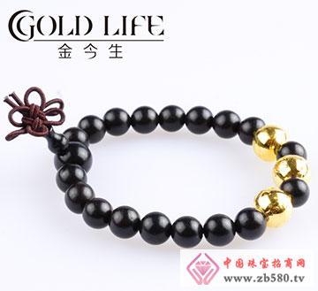 皇家祈福黑檀木黄金手链