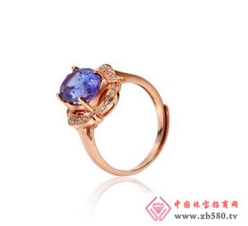 """佳烁""""蓝魅""""18K金坦桑石镶钻戒指"""