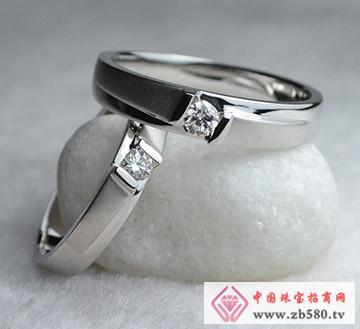 川川珠宝--18k白金情侣对戒爱情信