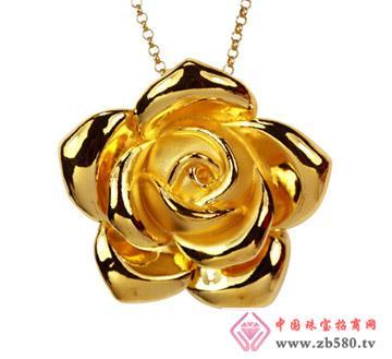 灿兴珠宝--3D硬千足金玫瑰花吊坠