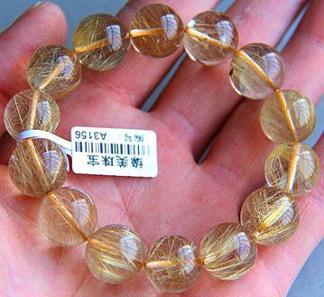 巴西天然发晶石手链-天然水晶石手