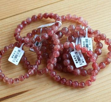 天然蔷薇石手链天然草莓晶手链-旺
