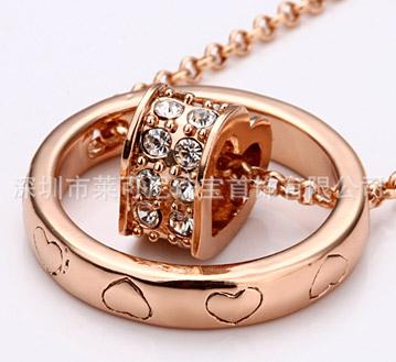 18K金首饰-玫瑰金项链-韩版饰品-环