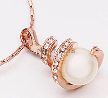 18K玫瑰金项链-珍珠项饰环保饰品