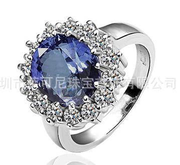 宝蓝色王妃戒指-戒指-进口锆石镶钻