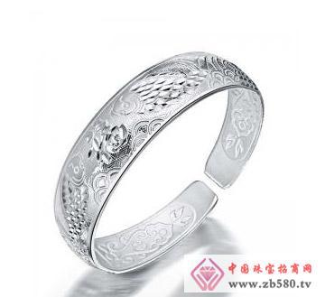 金丽珠宝--925银手镯-镀白金
