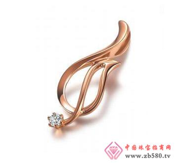 金丽珠宝--彩18K金钻石吊坠