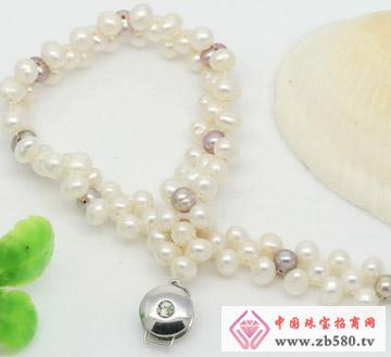 白、紫混色椭圆淡水珍珠编织手链