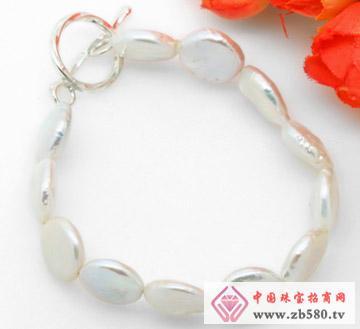 白色硬币形珍珠纯银手链
