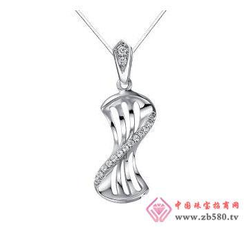 律动心弦-白18K金钻石吊坠
