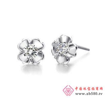 四叶心-白18K金钻石耳钉