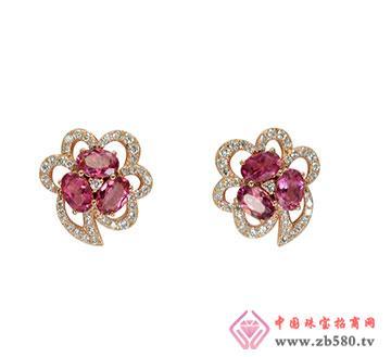 18K玫瑰金红碧玺钻石耳环