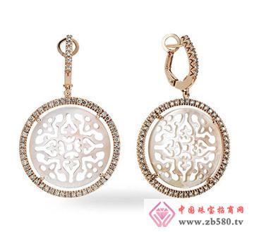 凯诗翡亚--18K金镶钻石、贝母耳环