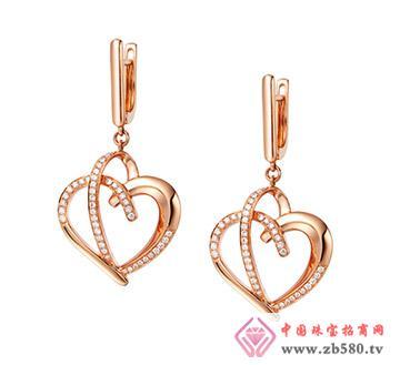 凯诗翡亚--18k玫瑰金镶钻石耳环
