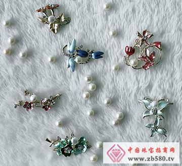越南沙金胸针珍珠
