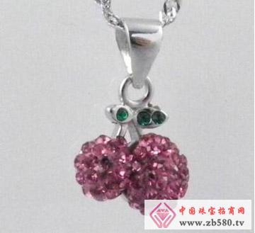 凌志银饰--镶石水晶吊坠