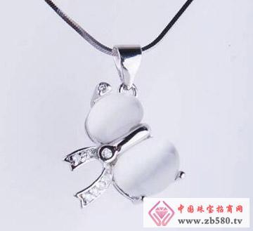 凌志银饰--镶石吊坠3