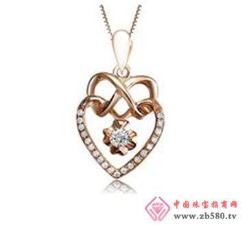 恋曲—13分18k玫瑰金钻石吊坠