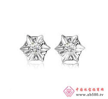 玫瑰灵动—12分18k白金钻石耳钉
