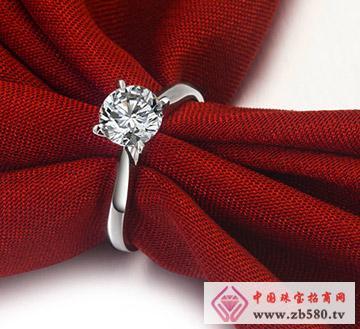 18K白金1克拉经典四爪钻石结婚女戒