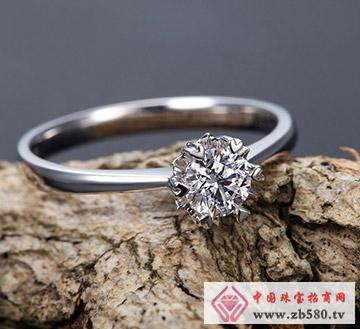 18K白金30分钻石时尚女戒-爱·雪花