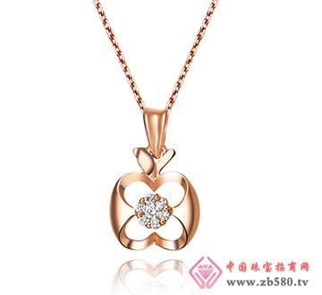18K玫瑰金8分钻石时尚吊坠-四世情