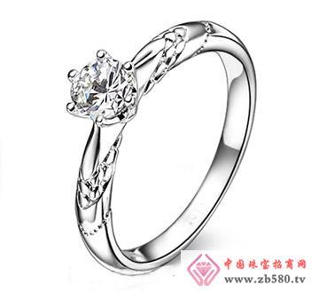 白金18K结婚戒指-六爪式女款戒指