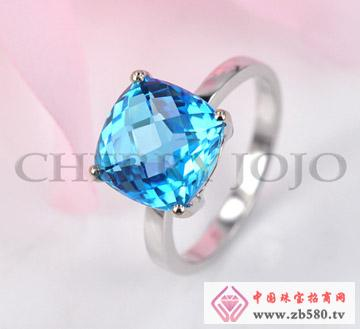 18K白金托帕石戒指戒子指环