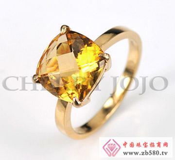 18K黄金-黄晶戒指-钻石指环
