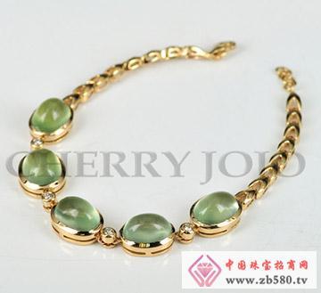 18K黄金-葡萄石手链-钻石手饰