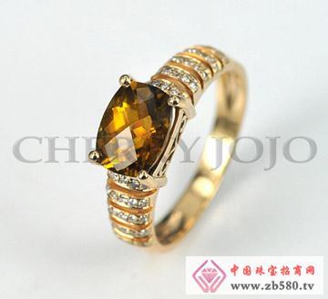 18K黄金-香槟色碧玺戒指-钻石指环
