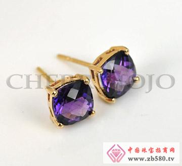 18K黄金-紫晶耳钉-彩宝耳饰